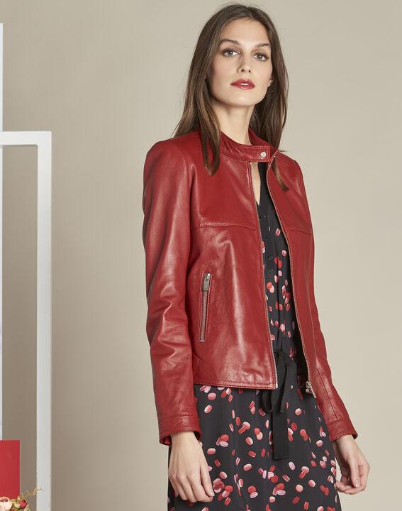 Tibo short red leather jacket PhotoZ | 1-2-3