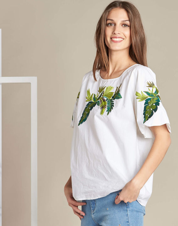 Grace white blouse with embroidered leaves. (3) - 1-2-3