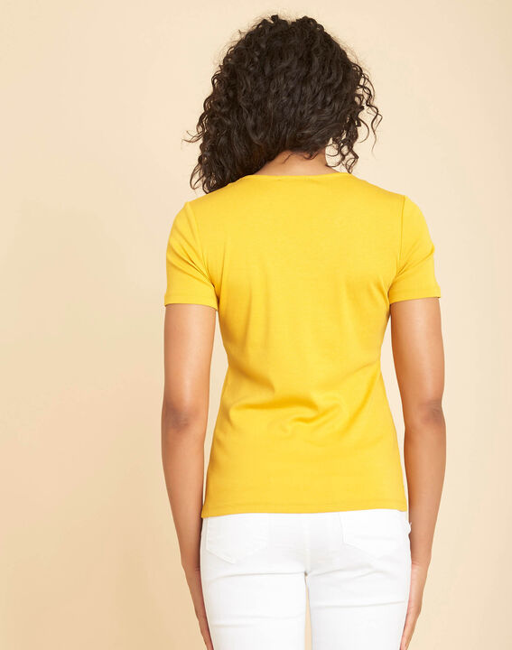Tee-shirt jaune encolure en V oeillets Basic (4) - 1-2-3