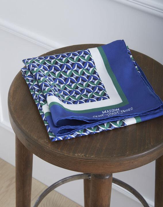 Carré de soie bleu imprimé fantaisie Ora (1) - Maison 123