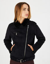 Leny black shearling-style jacket black.
