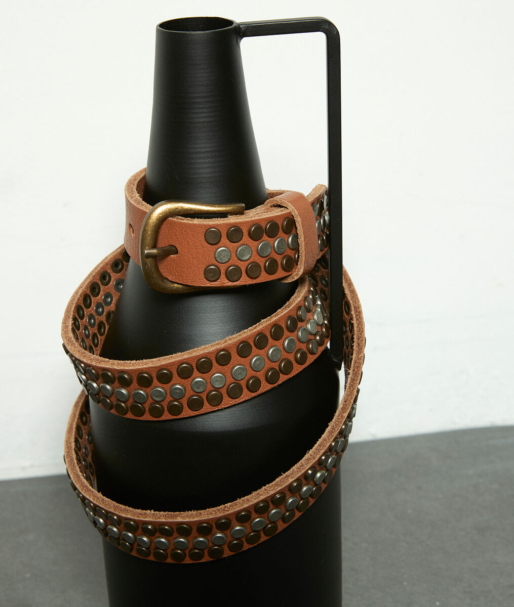 Ceinture cloutée en cuir camel Jessy PhotoZ | 1-2-3