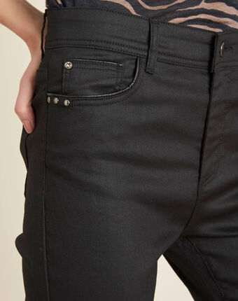 Schwarze beschichtete slim-fit-jeans mit normaler leibhöhe valley schwarz.