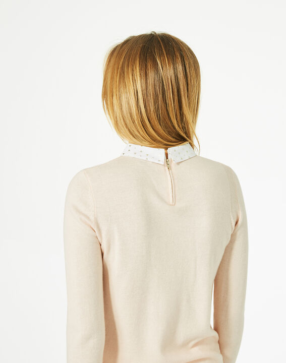Pretty pale pink sweater with stylish neckline (5) - 1-2-3