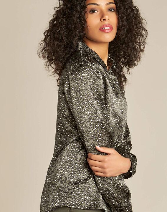 Ravel khaki silk shirt with leopard print PhotoZ   1-2-3