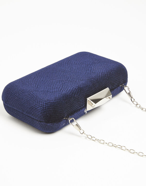 Ines navy blue velvet clutch bag (3) - 1-2-3