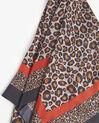 Carré de soie rouge imprimé léopard Felin (2) - 1-2-3