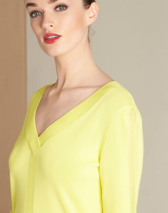 Pull jaune col v et points fantaisies nymphette citron.