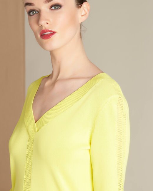 Nymphette yellow V-neck sweater with spotted detailing (2) - 1-2-3