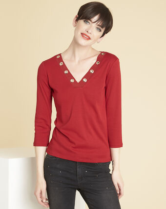 Tee-shirt rouge encolure oeillets basic potiron.