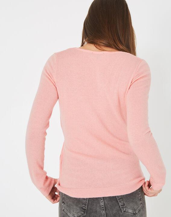 Pull rose façon cache-coeur en laine mélangée Poésie (4) - 1-2-3