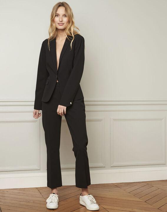 Eve black tailored microfibre jacket (2) - Maison 123