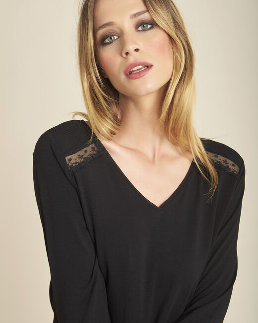 T-shirt noir manches longues empiècement dentelle Girl (1) - 1-2-3