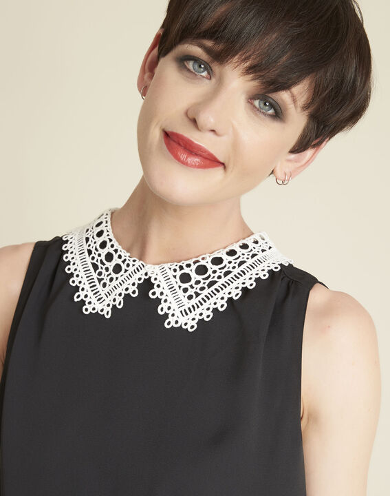 Cassie black top with lace neckline (3) - 1-2-3