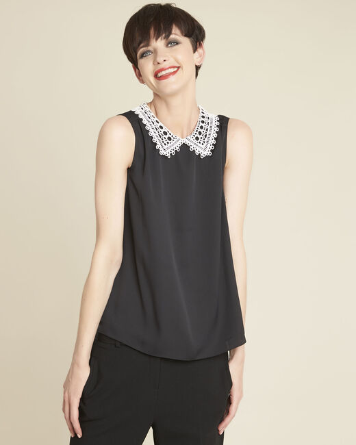 Cassie black top with lace neckline (1) - 1-2-3