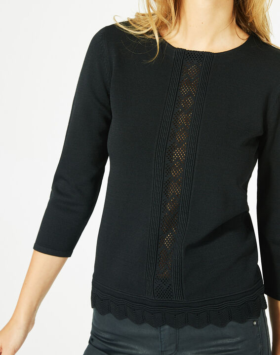 Pavlova black sweater with rounded neckline and lace insert! (4) - 1-2-3