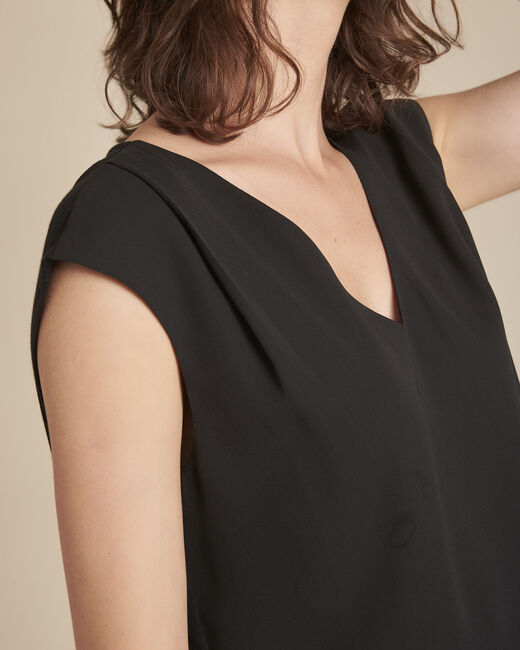 Neptune black blouse with V-neck (2) - 1-2-3
