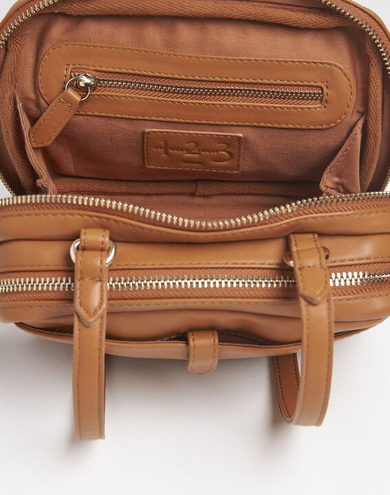 Dolly brown crossbody bag with gold tone zips (2) - 1-2-3