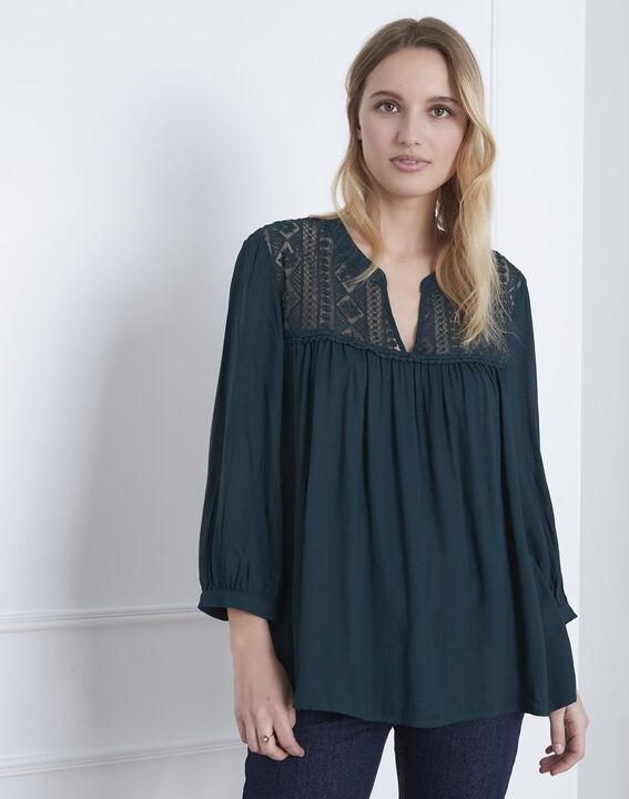Donkergroene blouse met kant Veracine (1) - Maison 123