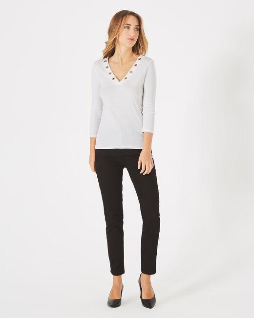Tee-shirt blanc cassé col V à oeillets Basic (1) - 1-2-3