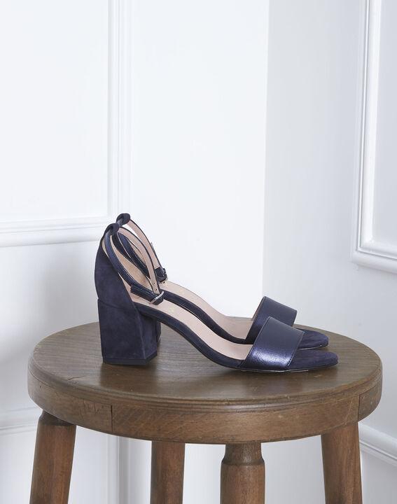 Sandales ouvertes bleues en cuir Khloe (1) - Maison 123