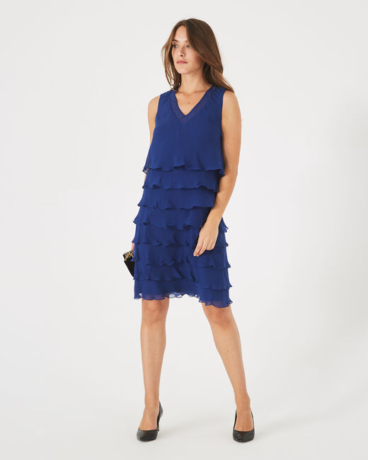 Robe bleue volantée en soie Flower (2) - 1-2-3
