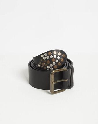 Schwarzer breiter fantasie-gürtel aus genarbtem leder roy schwarz.