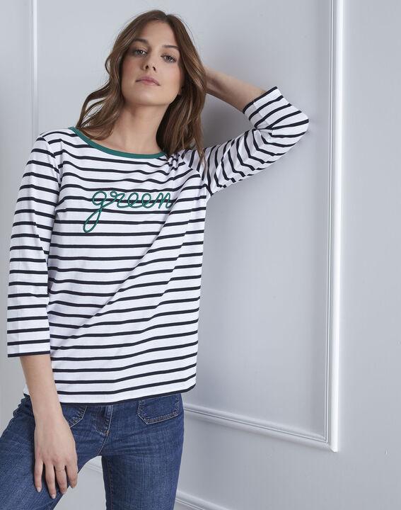 Weißes T-Shirt mit Streifen message Paraiso (2) - Maison 123
