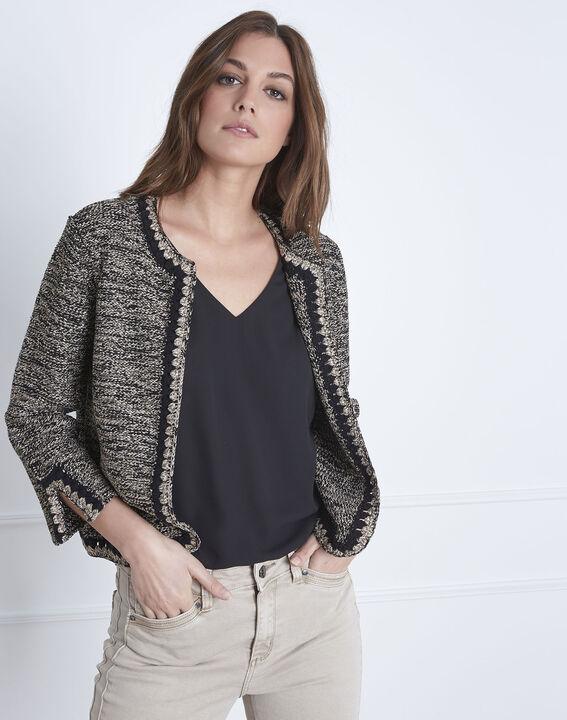 Schwarze Jacke mit originellem Strickmuster Amour (2) - Maison 123
