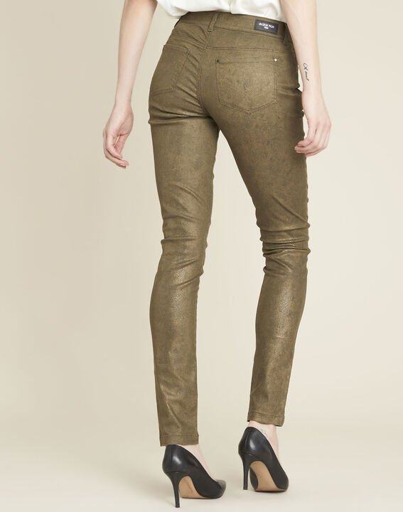 Kaki slim-fit jeans met coating en dierenprint Vendome (4) - 37653