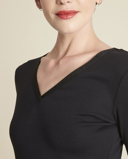 Tee-shirt noir encolure brillante Galvani (2) - 1-2-3
