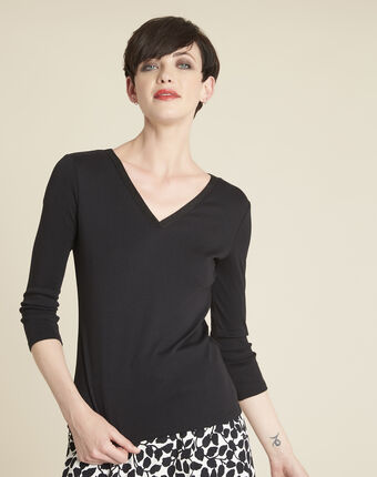 Galvani black t-shirt with shiny neckline black.
