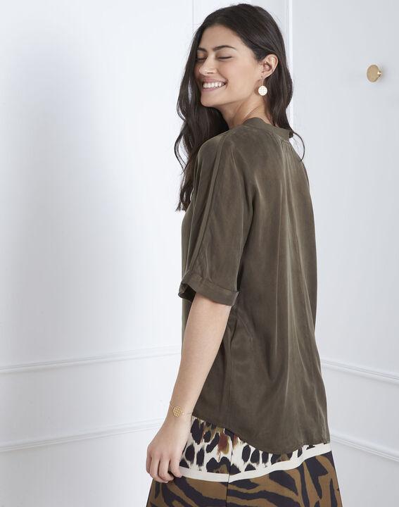 Kaki overhemd uit twee materialen Venise (4) - Maison 123