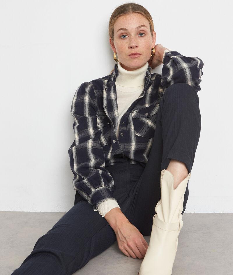 Katoenen hemd met marineblauwe en witte ruiten Agathe PhotoZ | 1-2-3