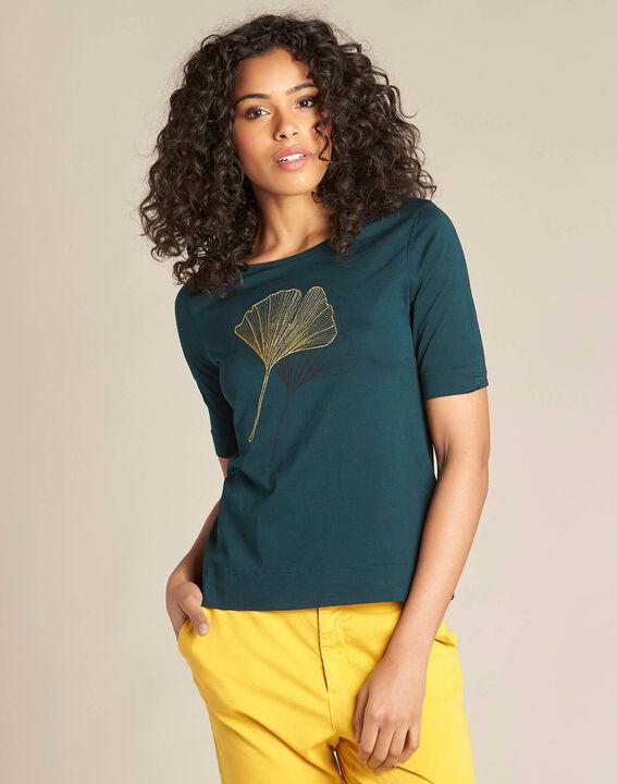 Tee-shirt vert foncé broderies dorées Eginko (3) - 1-2-3