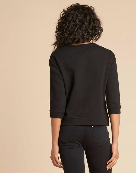 Zwarte geborduurde sweater met driekwartmouwen Eldorado (4) - 37653
