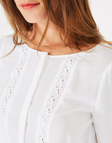 Dana ecru blouse with embroidery (3) - 1-2-3