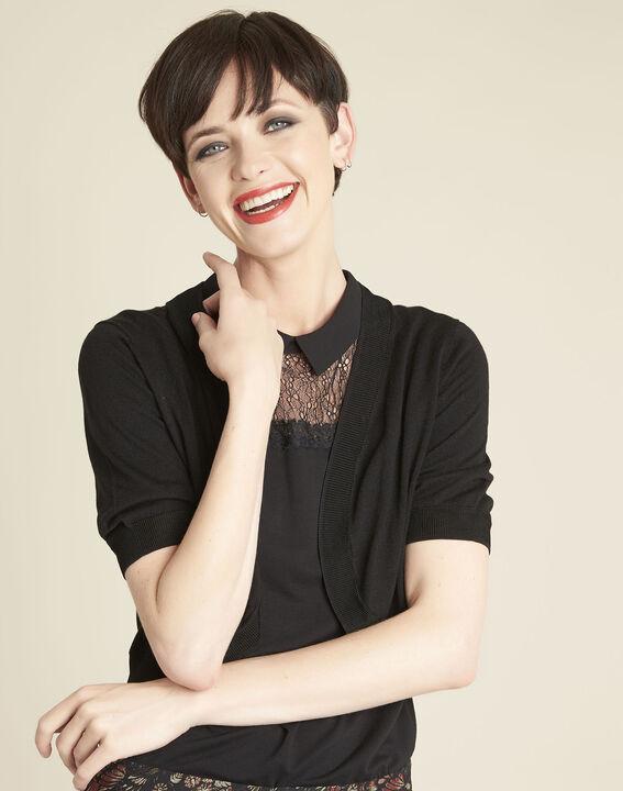 Zwarte bolero van dun tricot Basilic (1) - Maison 123