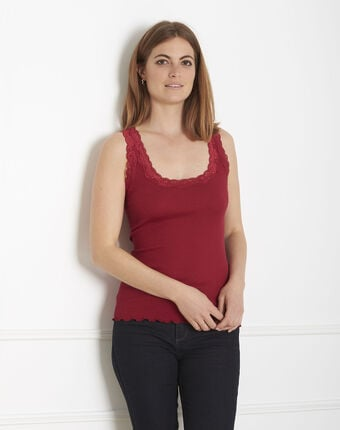 Guest red vest top in cotton and silk with lace neckline red.