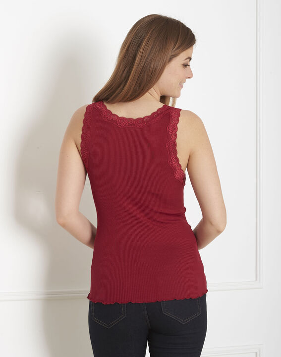 Guest red vest top in cotton and silk with lace neckline (3) - 1-2-3