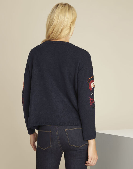 Bogota navy embroidered pullover (4) - Maison 123