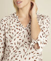 Cynthia nude blouse with feather print PhotoZ | 1-2-3