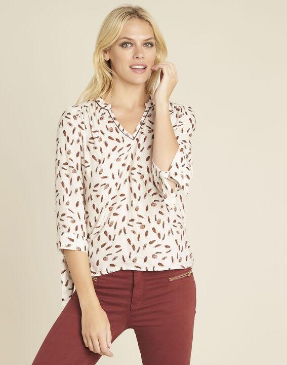 Nude blouse met verenprint Cynthia PhotoZ | 1-2-3