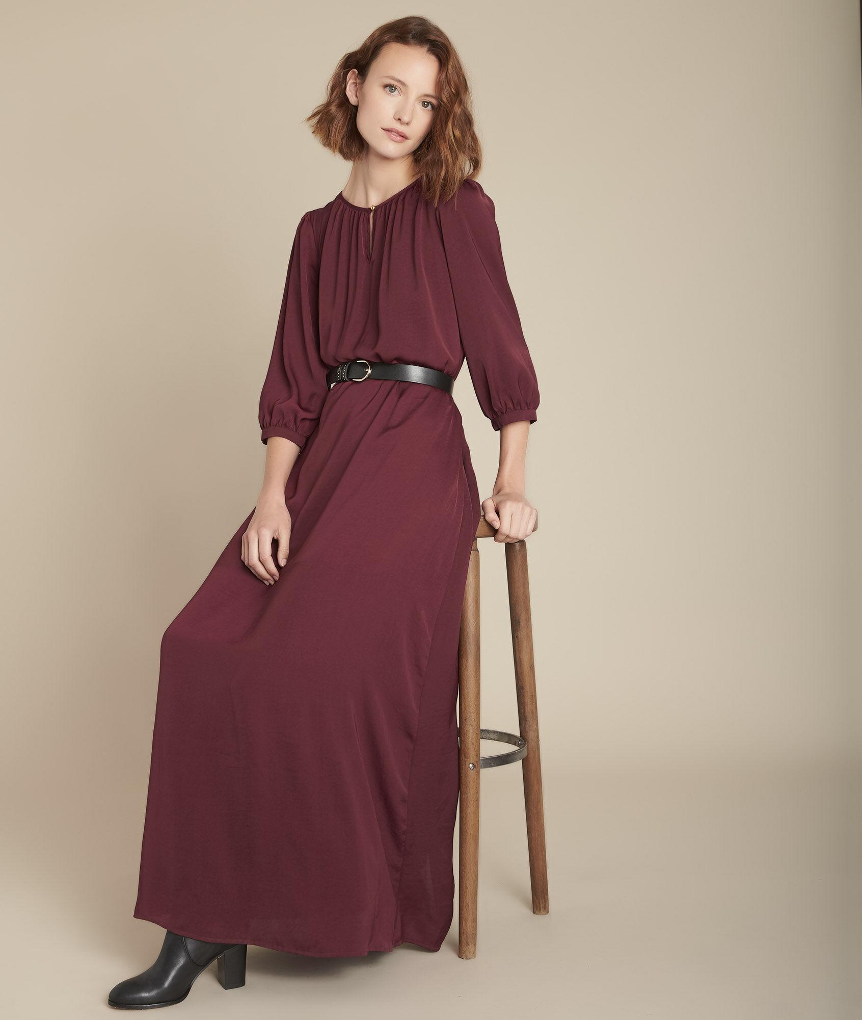 Ivana Fließend Kleid Kleid Langes Granatrot Langes L435jAR