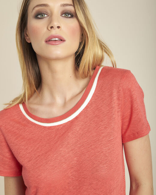 White linen T-shirt with coral neckline (2) - 1-2-3