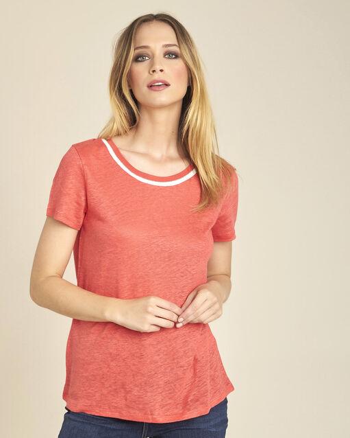 Tee-shirt en lin blanc encolure corail Elu (1) - 1-2-3