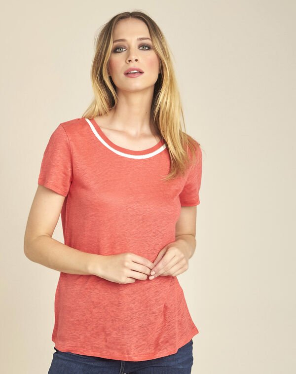 White linen T-shirt with coral neckline (1) - 1-2-3