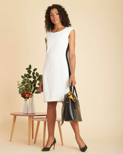 Abricot straight-cut ecru dress in microfibre crepe (1) - 1-2-3