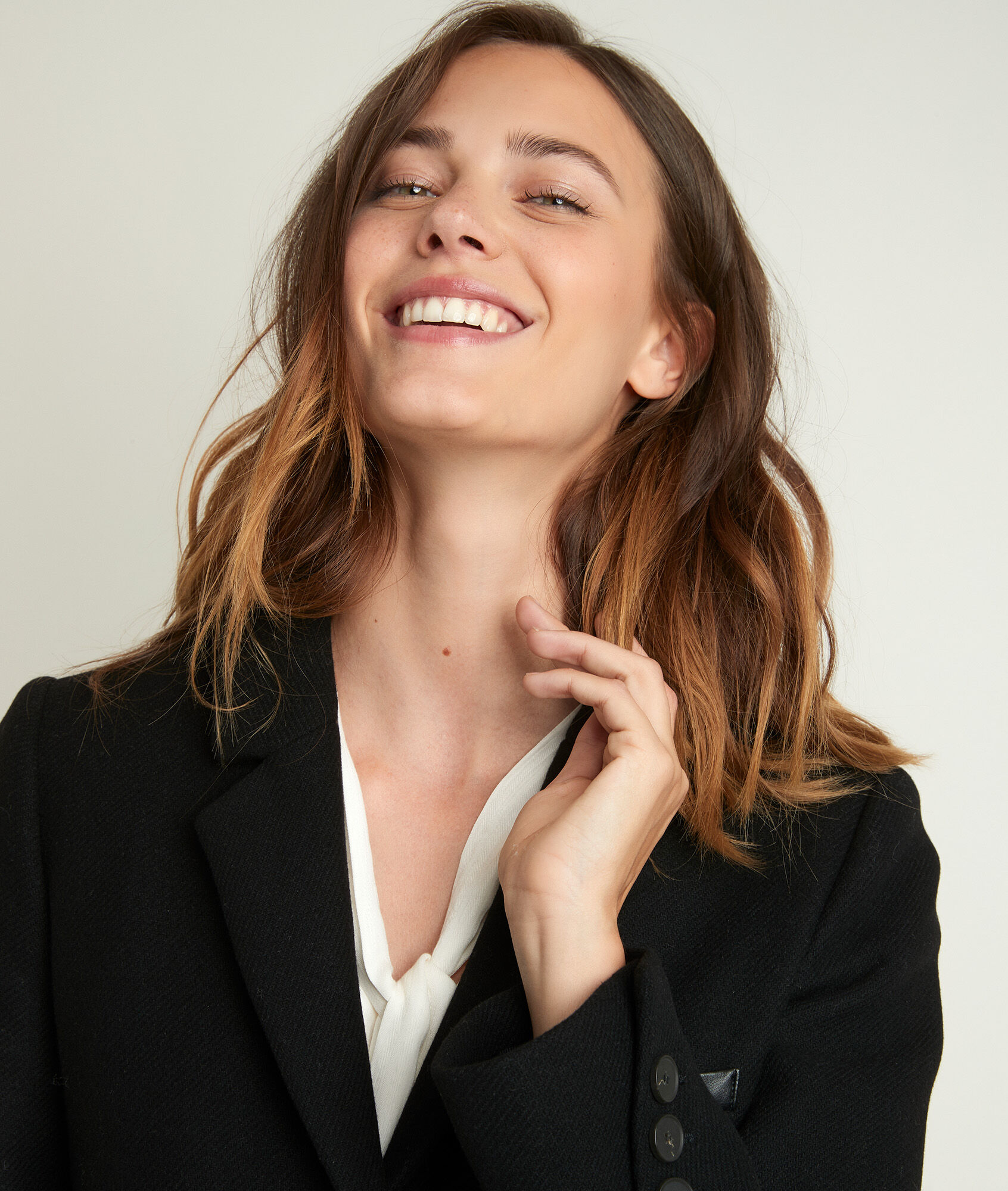 Manteau en laine recyclée noir Plume bis Femme | Maison 123