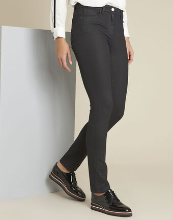 Vivienne navy coated straight-cut jeans violet.